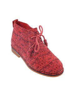 Cyra Catelyn In Poppy Red Hp Print Suede