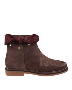 Catelyn Bow Boot In Dark Brown Suede