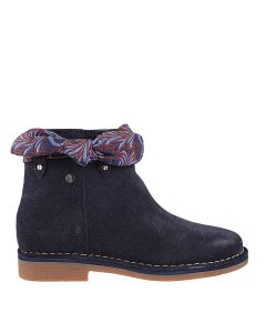 Catelyn Bow Boot In Navy Suede/ Brocade