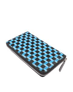 Cubism Long Zip Purse In Blue