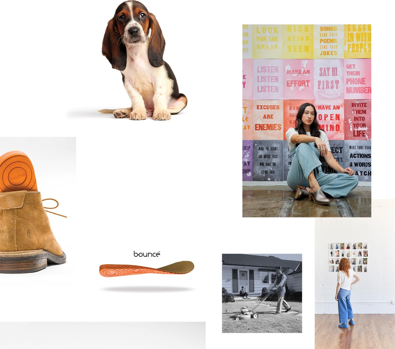 A Basset Hound puppy  adorably looking back at you. Female sitting in front of an inspirational wall of signs. Bounce technology shown through shoe insert.